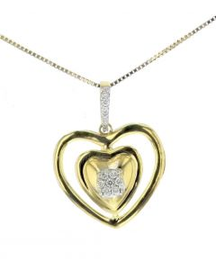 Womens Heart Pendant With Diamonds Double Heart lined Yellow