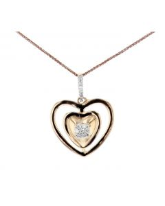 Womens Heart Pendant With Diamonds Double Lined Rose Silver