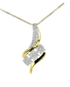 Diamond Pendant for Women Drop 3 Round Cluster Yellow Silver