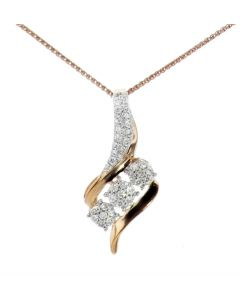 Midwest Jewellery Diamond Pendant for Women Drop Pendant 3 Round Cluster Rose Gold-Tone Silver 0.30ctw Diamond 23mm