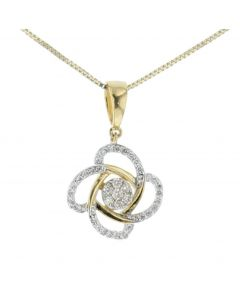 Midwest Jewellery Diamond Pendant for Women Flower Style 0.30ctw Round Diamonds 4 Patel Design Yellow Gold-Tone Silver