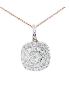 Midwest Jewellery Womens Diamond Pendant 0.85ctw Rose Gold-Tone Silver 20mm Tall Drop Pendant