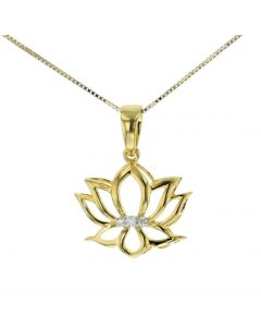 Diamond Pendant for Women Leaf Pendant Lotus Leaf 0.07ctw Yellow Gold-Tone Silver