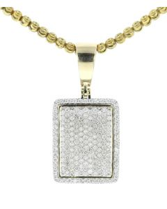 Midwest Jewellery 10K Gold Diamond Pendant for Men or Women Dog Tag Framed 1.75 Carat Diamonds Iced Out 1.5 Inch Tall