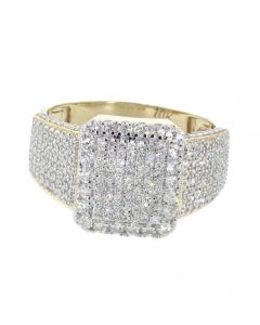 10K Yellow Gold Rectangular Shape Big Diamond Pinky Ring for Men 15mm Wide with 1.44ctw Round Diamonds