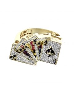 10K Yellow Gold Pinky Fashion Ring for Men has Royal Flush Design With 0.47ctw Round Diamonds