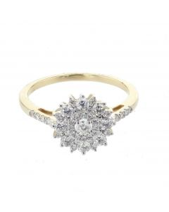 10K Gold Diamond Engagement Ring or Promise Ring Ladies 0.73ctw with beautiful flower design