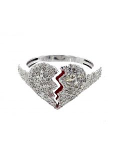 10K White Gold Heart broken ring for Men and Women 0.73ctw