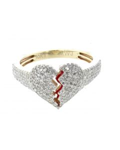 10K Yellow Gold Heart broken ring for Men and Women 0.73ctw