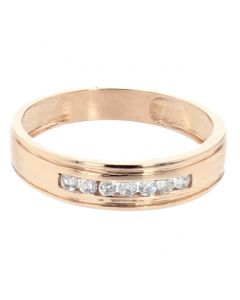 10K Rose Gold Wedding Band for Men 5mm Wide With 0.25ctw Diamonds