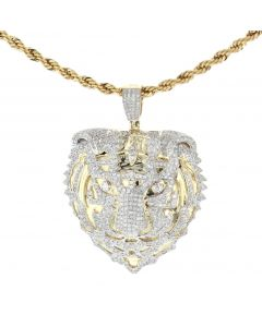 10K Yellow Gold Lion Head Diamond Charm Pendant 1.45ctw Round cut Diamonds