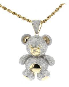 10K  Yellow Gold With Diamonds 3D Pave Teddy Bear Charm Pendant 3.3ctw Diamonds
