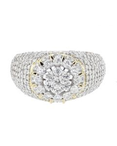 Diamond Ring for Men 10K Gold Round Shaped Cluster 2.75ctw Diamond Big 13mm Wide Domed