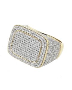 10K Yellow Gold Diamond ring for Men Rectangular shape 18mm WIde 2.13 ctw