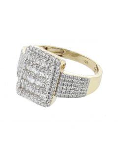Gold Diamond Ring Princess Cut Baguettes Real Diamonds 1.122ctw 10K Mens Ring