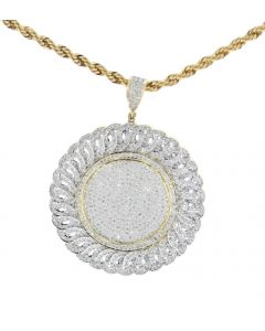10K Yellow Gold Round Medallion Charm For Men With 2.35ctw Round Cut Diamonds
