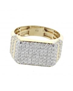 10K Gold Diamond Ring for Mens 1.32ctw Rectangle shaped pave fancy ring
