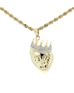 10K Yellow Gold Lion Face with the Crown Charm Pendant with 0.36ctw Diamonds