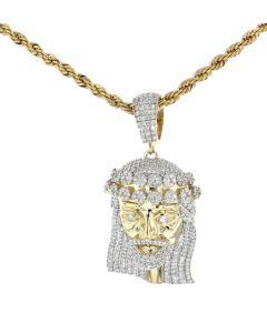 10K Yellow Gold Diamond Solid Charm Pendant Jesus Christ Head 1.94ctw Diamonds