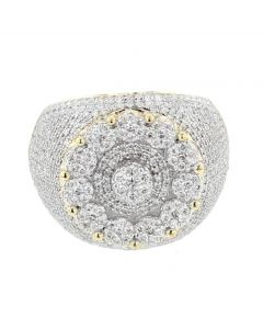 10K Yellow Gold Diamond big fancy ring for Men 20mm wide 1.93ctw round diamonds