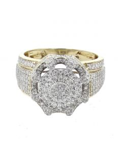 Diamond Ring for Men 10K Gold 1.60ctw Diamonds Fashion Pinky Ring 15mm Wide