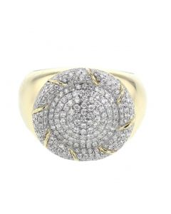 10K Yellow Gold Wide Pinky Ring For Men 18mm With 1.00ctw Round Cut Diamond