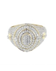 10K Yellow Gold Diamond ring for Men Big ring 17 mm wide with 1.3ctw diamonds