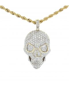10K Yellow Gold Solid Skull Pendant For Men With 3.9ctw Diamonds