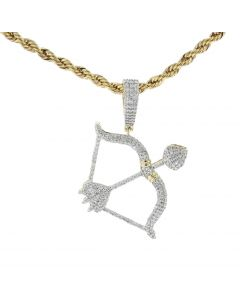 10K Yellow Gold Charm Pendant Bow and Arrow With 0.88ctw Round Cut Diamonds