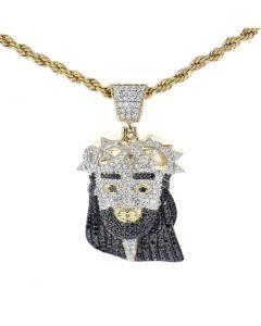 10K Yellow Gold With Black Diamonds Jesus Christ Messiah Head Charm Pendant 2.24ctw