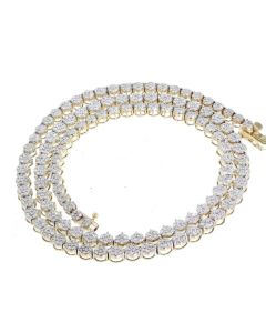 10K Yellow Gold Martini Tennis Necklace 5.58ctw Round Diamonds