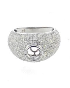 14K White Gold Diamond semi mount ring setting for Mens 1.83 ctw