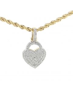 10K Yellow Gold Heart Charm Pendant For Women 0.37ctw Diamonds