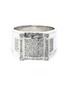 Diamond Ring for Men Extra Wide 1/2ctw Diamond Sterling Silver Mens Suare Ring