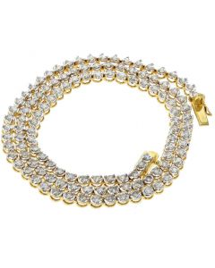 14K Gold Diamond Necklace Womens Tennis Necklace Martini Style 5.6ctw 18 Inch