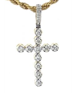 14K Yellow Gold Diamond Cross 0.76ctw Round Diamonds