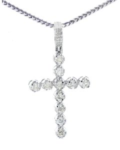 14K White Gold Diamond Cross 0.76ctw Round Diamonds