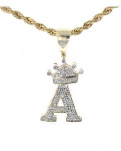 10K Yellow Gold Diamond Initial Letter A with Crown Charm Pendant with 0.49ctw Diamonds