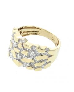 10K Yellow Gold Nugget Ring For Men with 0.32ctw Round Diamonds