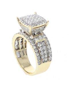 14K Yellow Gold Diamond Ring For Women 2.27ctw Round Diamonds Raised Top Cocktail Engagement