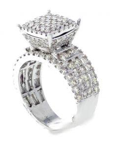 14K White Gold Diamond Ring For Women 2.42ctw Round Diamonds Large Top Raised