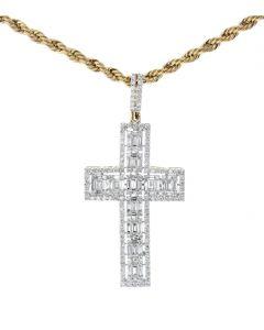 10K Gold Baguette Diamond Cross Charm Mens Cross Pendant 1.8ctw