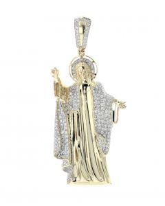 14K Gold Jesus Pendant 1.14ctw Diamond Mens Religious Pendant