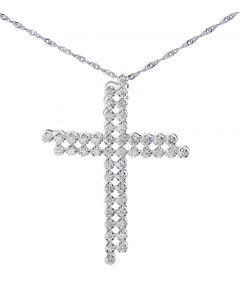 14K White Gold Double Cross Pendant 1.6ctw Diamond Mens Fashion Cross