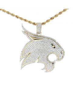 14K Gold Lion Pendant 3.55ctw Diamonds Round Cut Mens Custom Made Lion Pendnat With Diamond