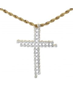 14K Gold Double Cross Pendant Mens Tennis Cross 1.65ctw Round Diamonds 2 Inch
