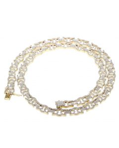 10K Gold Diamond Chain 13.5ctw Flat Byzantine Necklace Mens or Womens 22 inch Long
