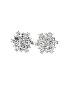 14K Gold Diamond Earrings for Men or Women 2.00ctw Large Sun Burst Snow Flake Design
