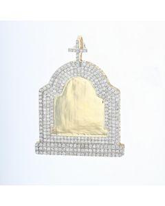 14K Yellow Gold Diamond Big Tomb Stone Picture Frame With 7.96ctw Diamonds