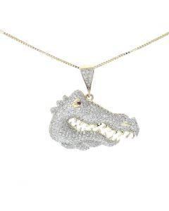 10K Yellow Gold Diamond Alligator Head Charm Pendant 0.82ctw